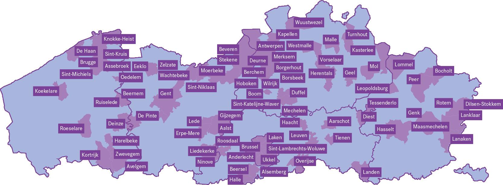 Deelnemende steden 2021
