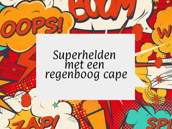 superhelden met een regenboog cape